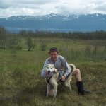 My husky pal, Ruskin.. (also, scenery and the rubber boots, provided by Arctic Adventures)