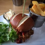 BBQ Pulled Pork Burger w/ Pineapple & Chili Mayo served with thick cut chips, side salad and sla