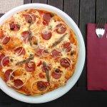 Die Pizza war zwar nicht shr groß, aber richtig, richtig gut