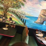 Inside murals and juice bar