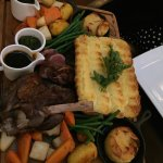 Lamb, shepherd's pie, roasted veg