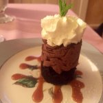 Dark Chocolate Mousse Tower with Caramel Sauce