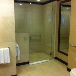 Large bathroom with shower (no tub), separated with a translucent glass sliding door from the ro