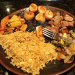 Fried rice, scallops and filet mignon