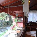 vista da janela do restaurante, ao lado do rio Preto, que separa RJ de MG