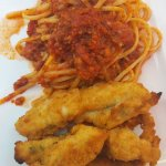 Ottawa's Little Italy La Roma Restaurant - chicken tenders with spaghetti & meat sauce.