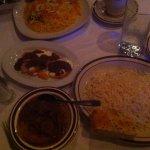 Norenge palaw eggplant rice; Buranee kadu pumpkin; Korma e saib stewed apples & lamb