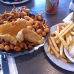 Flounder, strip clam, shrimp and scallop platter with fries and coleslaw