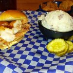 BBQ chicken and cheese sandwich with garlic red-skin mashed potatoes