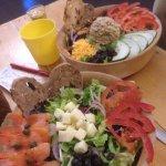 Tuna salad, and smoked salmon BC salad! Yum!!