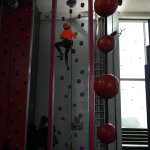 Yougest son aged 8 on one of the climbing walls