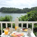 Breakfast with a view of the lagoon.