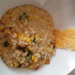 Local sweet corn risotto was good, but a bit bland for my taste. Served with a great parmesan cr