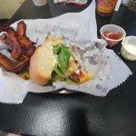 Half seamus burger with sweet pot fries, wasabi mayo, and kickin ketchup