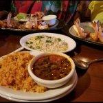 Black beans, cilantro rice, and shrimp