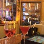 Beringer white Zin and the pomegranate martini.