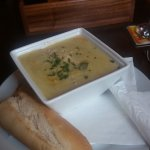 Thick creamy chicken and leek soup
