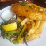 Battered haddock and chips
