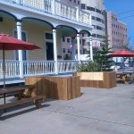 Outside seating. Located on the corner of 9th Street and Postoffice St.