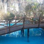 Ingreso con puente sobre la piscina