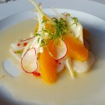 ElkValley Foodie @ CirQue  Scallop Ceviche, Pan seared Halibut and My Tie ( its how they spell i