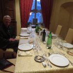 The table is set for an elegant wine dinner featuring wines made at the agriturismo.