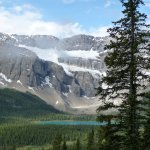 Bow Lake and Crowfoot Glacier from Lake Helen hike