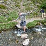 Crossing streams to Lake Helen