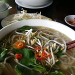 This is the large sliced chicken and beef soup. With fresh chilli you add the chilli yourself
