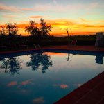 The beautiful pool at sunset.