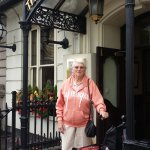 Mum at the front door of The Mad Hatter as we leave for Liverpool. Thank you staff!