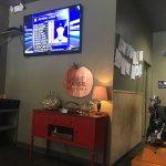 Big screen TV and interesting decor