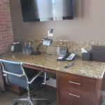 DESK WITH GRANITE TOP & LARGE TV