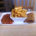 Sausage Roll, chips, beans