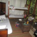 Cpich and bed a half level down from our charming and comfortable twin bed.