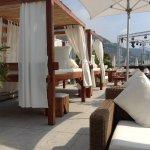 A whole row of high cabana beds!
