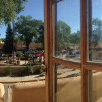 Panoramic picture of our Plaza View Room taken on a Saturday morning during the Taos Farmer's Ma