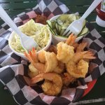 Fried shrimp dinner with 2 sides.