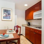 King suite kitchens, full-size refrigerator and microwave.
