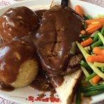 Hot Hamburger with mashed potatoes and mixed veggies on the side
