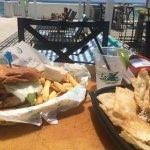 Swordfish Sandwich, Tuna Dip & Margarita