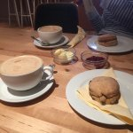 Coffee and Warm Scones with jam and butter