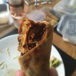 A spring roll as served, no bite out of it yet ... not appetising at all!
