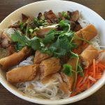 Pork & egg roll noodle bowl.