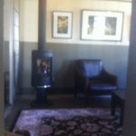 Comfy leather seating & fireside chats