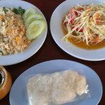 Squid with corn, crab fried rice. Som tum with sticky rice