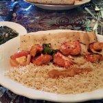 Sabzi (spinach), chicken kabob, brown basmati rice