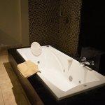 バスタブにシャワースペース、トイレ、洗面台が大きな空間にあります