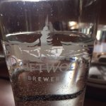 Driftwood Brewing Company glass at Hank's Untraditional BBQ, Ucluelet, BC