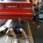 Car repair shop at Children's Village